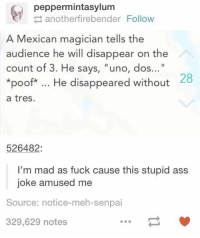 "https://t.co/mnOyWzkGqx: peppermintasylum  anotherfirebender Follow  A Mexican magician tells the  audience he will disappear on the  count of 3. He says, ""uno, dos...""  *poof*. He disappeared without  a tres.  28  526482:  I'm mad as fuck cause this stupid ass  joke amused me  Source: notice-meh-senpai  329,629 notes https://t.co/mnOyWzkGqx"