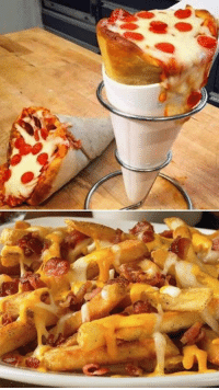 Pepperoni pizza cones with bacon sprinkle cheese fries... via UNILAD Grub: Pepperoni pizza cones with bacon sprinkle cheese fries... via UNILAD Grub