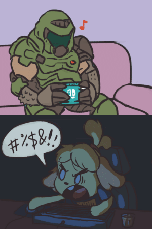 peppertroopa:  Doomguy and Isabelle on March 20th: peppertroopa:  Doomguy and Isabelle on March 20th