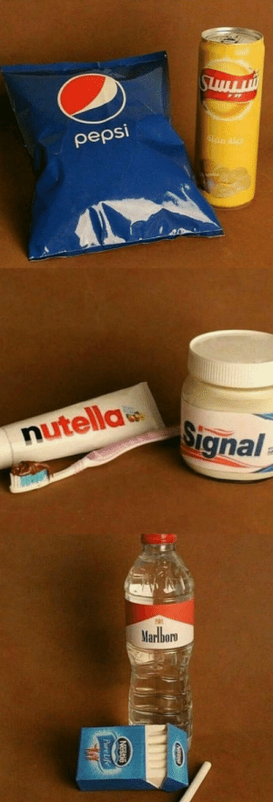 Water, Nutella, and Marlboro: peps  Signal  nutella  Marlboro I would be afraid to drink the water