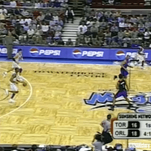 Tracy McGrady toying with his former team!   T-Mac averaged 28/7/5 over 4 seasons in Orlando. He led the league in scoring during 2 of those seasons. https://t.co/9olKqOh6eP: PEPSI  PEPSI  PE 1  SUMSWINI NETWO  TOR 16  ORL 18 4:1  1s  LNBARIstory Tracy McGrady toying with his former team!   T-Mac averaged 28/7/5 over 4 seasons in Orlando. He led the league in scoring during 2 of those seasons. https://t.co/9olKqOh6eP