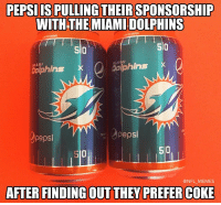 About time they start losing sponsors.. https://t.co/fDYgF5Koqh: PEPSIIS PULLING THEIR SPONSORSHIP  WITH THE MIAMI DOLPHINS  SI0  510  so  MIAMI  ophins  dolphins X  pepsi  pepsi  S10  510  @NFL MEMES  AFTER FINDING OUT THEY PREFER COKE About time they start losing sponsors.. https://t.co/fDYgF5Koqh
