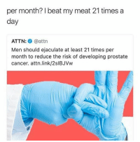 I Beat My Meat: per month? beat my meat 21 times a  day  ATTN  attn  Men should ejaculate at least 21 times per  month to reduce the risk of developing prostate  cancer. attn link/2slBJVw