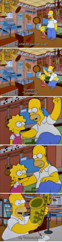 """Dad, Family, and Fucking: PERCUSST ONC  NEY  TX 9  Uh what do vou like. Lisa?   91  """"Viomalinu?  Tubamaba""""?   Oboemoboeu   That one   KEYBOARDS  SH faultyfeminist:  iamcamdon:  speckster:  reptilereasons:  this period of the simpsons where homer is pretty clueless but still tries hard to be a good father because he does love his kids is my favourite, so many feelings   GROSS SOBBING  Something I really really liked about a few of the Homer/Lisa episodes in the earlier seasons of the show was how it paints a really sweet yet unconventional father/daughter relationship, basically in the way that Homer is a parental force to Lisa, so too is Lisa a parental force to Homer. It's really highlighted in one particular scene in the """"future"""" episode """"Lisa's Wedding"""", where Homer has a nice conversation with her just before her wedding. Homer: Little Lisa, Lisa Simpson.  You know, I always felt you were the best thing my name ever got attached to. Since the time you learned to pin your own diapers, you've been smarter than me.  Lisa: Oh, Dad -- Homer: No, no, let me finish.  I just want you to know I've always been proud of you.  You're my greatest accomplishment and you did it all yourself.  You helped me understand my own wife better and taught me to be a better person, but you're also my daughter, and I don't think anybody could have had a better daughter than you--  Lisa: Dad, you're babbling. Homer: See?  You're still helping me.  Although Homer is an extremely flawed character, what redeems him is the fact that he will always try and do what he thinks is best for his family - usually his madcap schemes start because either he wants to give his kids a better life or a need arises that he can't provide with the current status quo. That is why I will always prefer him to characters like Peter Griffin, who is often just fucking cruel to his family and treats them with disdain"""