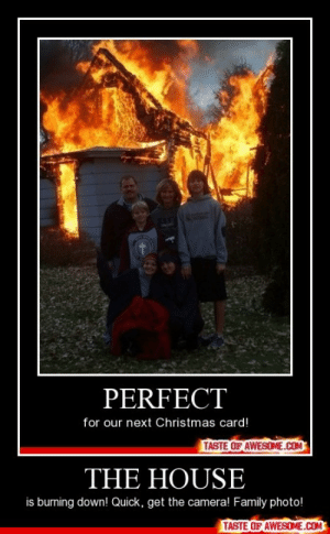 THE HOUSEhttp://omg-humor.tumblr.com: PERFECT  for our next Christmas card!  TASTE OF AWESOME.COM  THE HOUSE  is burning down! Quick, get the camera! Family photo!  TASTE OF AWESOME.COM THE HOUSEhttp://omg-humor.tumblr.com