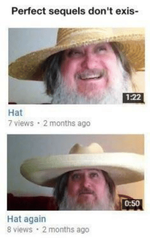 Hat, Months, and Perfect: Perfect sequels don't exis-  1:22  Hat  7 views 2 months ago  0:50  Hat again  8 views 2 months ago