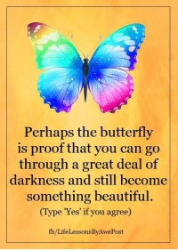 <3 Life Lessons By AwePost: Perhaps the butterfly  is proof that you can go  through a great deal of  darkness and still become  something beautiful.  (Type 'Yes' if you agree)  fb/Life LessonsByAwePost <3 Life Lessons By AwePost