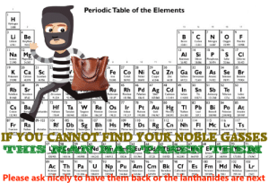 Important notice by SevenPikmin FOLLOW 4 MORE MEMES.: Periodic Table of the Elements  н  Hydrages  1.006  15  17  CN O  Li Be  В  F  Berylin  9.01  12  Lan  Bora  Carbon  Nogn  14007  Oayg  Rurie  189  12.0  13  14  AI  Si  16  15  17  Na Mg  CI  Magnem  Phosphars  3 974  | 34  Sodun  Amina  Sco  Suifu  Chirise  11  12  22990  24305  269  2806  32066  35453  | 27  19  20  к  26  | 28  31  32  |35  21  Sc  33  Fe Co Ni Cu Zn  Ga Ge As Se Br  di  Genmai  Potassiun  Calcla  Scandum  Coba  Coppe  Znc  Gallum  Seleniem  Bromine  Iros  Nckel  Asesic  39098  40  44956  55.845  58933  58693  63546  6538  69723  7263  74922  78971  79904  38  Rb  Sr  39  45  Ru Rh Pd Ag Cd In  47  48  49  50  51  52  53  |37  46  Sb Te  Sn  Zircosn  Ruchesian  Rabatun  Son  N  Rhodun  Paladiu  Ser  Cadnium  T  Telur  ndium  11481  Amony  121.760  lodne  920  02906  1642  10768  84468  8742  9224  01  112414  118711  1276  12690  56  55  72  74  75  Hf Ta W Re Os  73  76  77  |78  80  81  82  83  РЬ Вi Ро At  84  85  Cs Ba  Pt Au Hg T  Palen  Bar hasales  Mercry  200392  Ceum  Haliun  Tanalun  Tangen  dun  1217  Plaisu  190  Gold  Thalun  Lead  Bah  Aane  13290  178 49  206  8094  18384  19%967  204.183  2072  200  88  89-103  106  117  Ts  87  105  108  по  112  113  114  116  104  109  115  Rf Db Sg Bh Hs Mt Ds Rg Cn Nh FIMc Lv  Fr Ra  Atinitesthwtdan  61  Seabor plum  Menera  Tnshe  Francun  Radam  Dubnu  Reemg Cepernicium Ntosan  Frovune  Mocon  Lernoran  Hassun  IF YOU CANNOT FIND YOUR NOBLE GASSES  HISICPINd HhAnSEuH  69  57  58  60  65  70  68  66  La  Ebun  aориn  ibdymia  14424  13895  15892  I4930  14010  14491  150 36  151.  5725  162500  I67.259  68934  171055  7467  92  Ac Th Pa  Protactiu  231.036  90  91  96  98  Cf  Clfosian Esteun  250  99  89  93  94  95  97  100  102  103  Lr  I01  U Np PuAm Cm Bk  Es Fm Md No  Acisiun  Neptuiam  Pou  244.064 24106  |Mendelew Nobelun  2510  Thern  Uraian  Anericum  Cuim  Berelan  Ferium  Lawrenck  237  247070  [262  2278  208  238029  2470  25705  2581  Please ask nicely to have them back or the Tanthanides are next  79 Important notice by SevenPikmin FOLLOW 4 MORE MEMES.