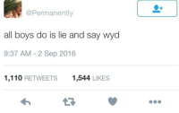 Andrew Bogut, Blackpeopletwitter, and Lol: @Permanently  all boys do is lie and say wyd  9:37 AM -2 Sep 2016  1,110 RETWEETS  1,544 LIKES <p>Lol you wild tho (via /r/BlackPeopleTwitter)</p>