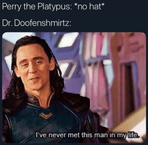 """perry the platypus: Perry the Platypus: """"no hat*  Dr. Doofenshmirtz:  I've never met this man in mylife."""