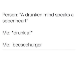 "me_irl: Person: ""A drunken mind speaks a  sober heart""  Me: *drunk af*  Me: beesechurger me_irl"