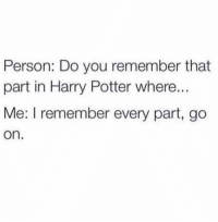tag someone who loves harry potter (@memes): Person: Do you remember that  part in Harry Potter where...  Me: l remember every part, go  On tag someone who loves harry potter (@memes)