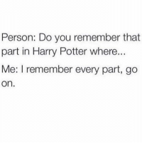 tag someone who loves harry potter (@memes): Person: Do you remember that  part in Harry Potter where..  Me: I remember every part, go  On. tag someone who loves harry potter (@memes)