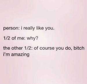 Bitch, Dank, and Memes: person: i really like you.  1/2 of me: why?  the other 1/2: of course you do, bitch  i'm amazing meirl by caffeinateintoxicate FOLLOW HERE 4 MORE MEMES.