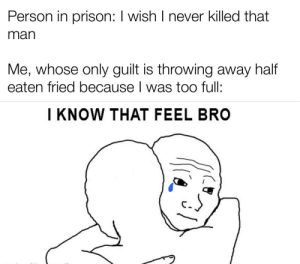 I always hesitate throwing away the rest of my fries: Person in prison: I wish I never killed that  man  Me, whose only guilt is throwing away half  eaten fried because I was too full:  I KNOW THAT FEEL BRO I always hesitate throwing away the rest of my fries