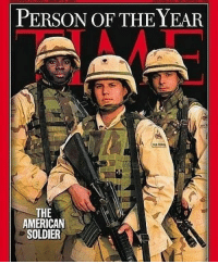 Memes, American, and Time: PERSON OF THE YEAR  THE  AMERICAN  SOLDIER This should be an annual thing!! Thoughts??? Via: @u.s.veteran.pride TIME magazine cover from 2003
