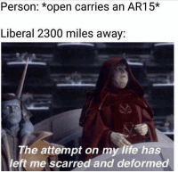 Life, Memes, and Ar15: Person: open carries an AR15  Liberal 2300 miles away:  The attempt on my life has  left me scarred and deformed (GC)