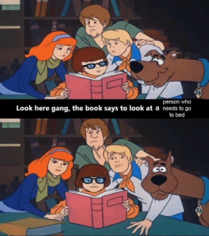 Gang, Book, and Who: person who  Look here gang, the book says to look at a needs to go  to bed