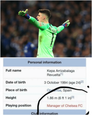 Kepa entrenador del Chelsea 😂: Personal information  Full name  Kepa Arrizabalaga  Revueltal  3 October 1994 (age 24)2]  Date of birth  Place of birth  Height  Playing position  Oproa, Spain  1.86 m (6 ft 1 in)8  Manager of Chelsea FC  Clu information Kepa entrenador del Chelsea 😂