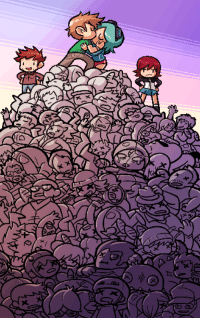 Google, Sorry, and Target: personasama:  The Scott Pilgrim game is on sale on PSN until July 19! To celebrate, here's a pic from the level 2 end cutscene. I was able to fit in nearly every enemy from the game (along with some that were cut), plus fellow game staff Paul, Kinuko, Justin Cyr, Stephane Boutin, Jo Lavigne, and me. Also some crudely drawn facsimiles of Bryan Lee O'Malley and Edgar Wright. And a Mameshiba and Mecha Fetus. There's more cameos in the other cutscenes! Can you find them all?    Also now that I look at this pic, it's kind of crudely drawn in general. Sorry guys.