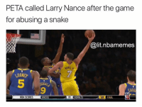 Caught a case💀: PETA called Larry Nance after the game  for abusing a snake  @lit.nbamemes  SANG,  LOONE  7  5  9  ASS  LIVE  NBA SCORES  KNICKS  91 HORNETS  HORNETS  109  FINAL Caught a case💀