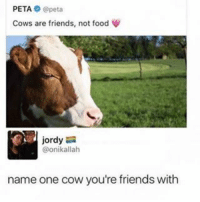 Poser: PETA, peta  Cows are friends, not food  jordy  @onikallah  name one cow you're friends with Poser