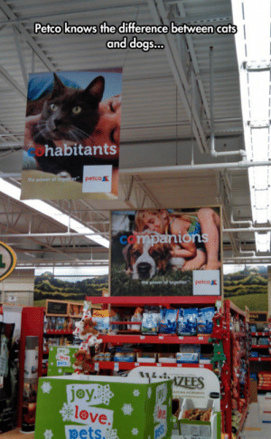 Cats, Dogs, and Love: Petco knows the difference between cats  and dogs  ...  habitants  petco  ions  petco盖  jey..  love  ets. srsfunny:Truest Sign Ever