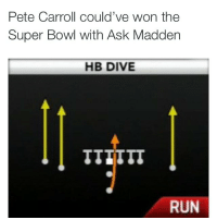 I actually don't mind the play call. Russell Wilson should be able to be trusted with that play. The play call was fine, execution was awful: Pete Carroll could've won the  Super Bowl with Ask Madden  HB DIVE  RUN I actually don't mind the play call. Russell Wilson should be able to be trusted with that play. The play call was fine, execution was awful