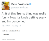 Dank, 🤖, and Roses: Pete Davidson  apetedavidson  At first this Trump thing was really  funny. Now it's kinda getting scary  and I'm concerned  12:33 AM 10 Aug 15  black-rose-waterDeactivated  Seriously  Source: imrussiantothe
