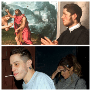 Funny, Vampire, and Him: Pete Davidson is a goddamned vampire. Found him in a painting from the 1500's