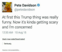 Dank, 🤖, and Roses: Pete Davidson  @petedavidson  At first this Trump thing was really  funny. Now it's kinda getting scary  and I'm concerned  12:33 AM 10 Aug 15  black-rose-waterDeactivated  Seriously.  Source: im russiantothe Seriously..