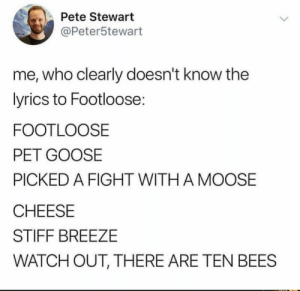 This had me dying!: Pete Stewart  @Peter5tewart  me, who clearly doesn't know the  lyrics to Footloose:  FOOTLOOSE  PET GOOSE  PICKED A FIGHT WITH A MOOSE  CHEESE  STIFF BREEZE  WATCH OUT, THERE ARE TEN BEES This had me dying!