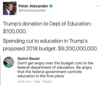 (QB): Peter Alexander  @PeterAlexander  Trump's donation to Dept of Education:  $100,000  Spending cut to education in Trump's  proposed 2018 budget: $9,200,000,000.  Quinn Bauer  Don't get angry over the budget cuts to the  federal department of education. Be angry  that the federal government controls  education in the first place  Just now Like Reply (QB)