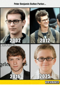 """Tumblr, Benjamin Button, and Blog: Peter Benjamin Button Parker..  2002N  2012  AWARDS  nel  2016  2025  THE META PICTURE <p><a href=""""https://epicjohndoe.tumblr.com/post/172825463374/spiderman-just-keep-getting-younger-and-younger"""" class=""""tumblr_blog"""">epicjohndoe</a>:</p>  <blockquote><p>Spiderman Just Keep Getting Younger And Younger</p></blockquote>"""