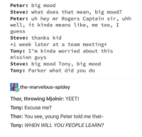 Big Mood: Peter: big mood  Steve: what does that mean, big mood?  Peter: uh hey mr Rogers Captain sir, uhh  well, it kinda means like, me too, I  guess  Steve: thanks kid  *1 week later at a team meeting*  Tony: I'm kinda worried about this  mission guys  Steve: big mood Tony, big mood  Tony: Parker what did you do  the-marvelous-spidey  Thor, throwing Mjolnir: YEET!  Tony: Excuse me?  Thor: You see, young Peter told me that-  Tony: WHEN WILL YOU PEOPLE LEARN?