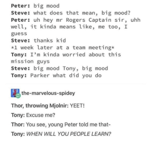 Big Mood: Peter: big mood  Steve: what does that mean, big mood?  Peter: uh hey mr Rogers Captain sir, uhh  well, it kinda means like, me too, I  guess  Steve: thanks kid  *1 week later at a team meeting*  Tony: I'm kinda worried about this  misS1on guys  Steve: big mood Tony, big mood  Tony: Parker what did you do  the-marvelous-spidey  Thor, throwing Mjolnir: YEET!  Tony: Excuse me?  Thor: You see, young Peter told me that-  Tony: WHEN WILL YOU PEOPLE LEARN?