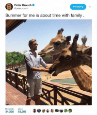 Family, Memes, and Summer: Peter Crouch  Following  @petercrouch  Summer for me is about time with family  Retweets Likes  34,328  63,905 😂😂👌🏽