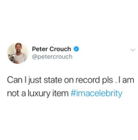 Memes, Record, and 🤖: Peter Crouch  @petercrouch  Can l just state on record pls. I am  not a luxury item @crouchy is getting bought with them dingo dollars 😂
