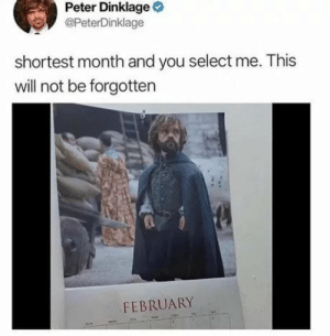 Shit, Tumblr, and Blog: Peter Dinklage  @PeterDinklage  shortest month and you select me. This  will not be forgotten  FEBRUARY funnyshitaight:  Ohhh shit