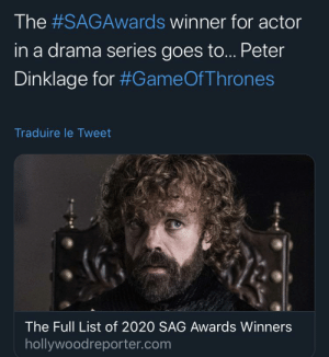 Peter Dinklage wins best actor in a drama series at the SAG awards: Peter Dinklage wins best actor in a drama series at the SAG awards