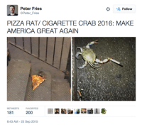 crab: Peter Fries  Follow  @Peter Fries  PIZZA RAT/ CIGARETTE CRAB 2016: MAKE  AMERICA GREAT AGAIN  FAVORITES  181  200  8:43 AM-22 Sep 2015