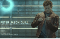 "When the Nova Corps review Peter Quill, they list his alias as ""Space-Lord."" This is part of a running joke in the film that no one can remember Quill's outlaw name.  (Andrew Gifford): PETER JASON QUILL  ALIAS: ""SPACE-LORD  ORIGIN: TERRA  LEGS: 2  ARMS: 2  ENHANCEMENTS  TRANSLATOR IMPLANT IN NECK When the Nova Corps review Peter Quill, they list his alias as ""Space-Lord."" This is part of a running joke in the film that no one can remember Quill's outlaw name.  (Andrew Gifford)"