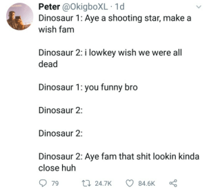 Dank, Dinosaur, and Fam: Peter @OkigboXL 1d  Dinosaur 1: Aye a shooting star, make a  wish tam  Dinosaur 2: i lowkey wish we were all  dead  Dinosaur 1: you funny bro  Dinosaur 2:  Dinosaur 2:  Dinosaur 2: Aye fam that shit lookin kinda  close huh  79  24.7K  84.6K This is headcanon for me now by Zannetidis MORE MEMES