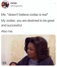 Gif, Zodiac, and Relatable: PETER  @OkigboXL  Me: *doesn't believe zodiac is real*  My zodiac: you are destined to be great  and successful  Also me:  GIF it all makes sense now✨