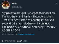 tim mcgraw: Peter  @OkigboXL  My parents thought I charged their card for  Tim McGraw and Faith Hill concert tickets.  First off I don't listen to country music and  second off that's McGraW-Hill connect...  The name of a textbook company.... for my  ACCESS CODE  19:54 06 Feb 19 Twitter for Android  9,440 Retweets 77.5K Likes