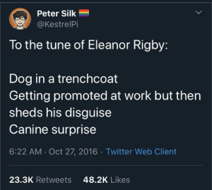 Twitter, Taxes, and Work: Peter Silk  @KestrelPi  To the tune of Eleanor Rigby:  Dog in a trenchcoat  Getting promoted at work but then  sheds his disguise  Canine surprise  6:22 AM Oct 27, 2016 Twitter Web Client  23.3K Retweets  48.2K Likes I'd still let a good boy do my taxes