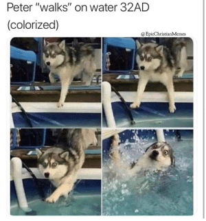 """Water, Apostle, and Peter: Peter """"walks"""" on water 32AD  (colorized)  @EpicChristianMemes The Apostle Peter walks on water 32A.D. (colorized)"""