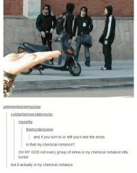 Funny, God, and Memes: petewentzstolemypizza  nyselfie  mu  and if you turn to ur left you'll see the emos  is that my chemical romance?  OH MY GOD not every group of emos is my chemical romance stfu  tumblr  but it actualy is my chemical romance Follow us for more funny tumblr & textposts!!