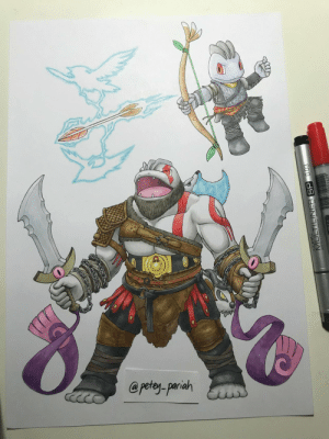 Beard, God, and Pokemon: @petey-pariah  MULTILINER SP gamercrunch:  Mashup of Pokemon with God of War. Yes, Machoke has a beard. via reddit