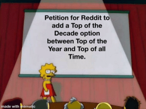 We can make a change: Petition for Reddit to  add a Top of the  Decade option  between Top of the  Year and Top of all  Time.  made with mematic We can make a change